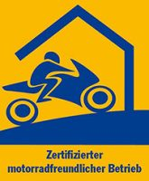 """Qualitätssiegel """"Motorradfreundlicher Hotelbetrieb in Sachsen"""""""